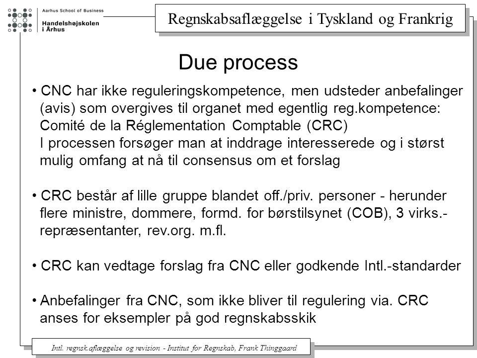 Due process CNC har ikke reguleringskompetence, men udsteder anbefalinger. (avis) som overgives til organet med egentlig reg.kompetence: