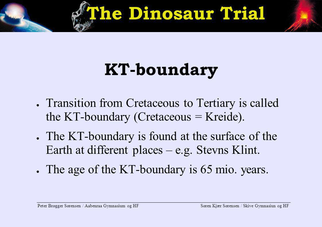 KT-boundary Transition from Cretaceous to Tertiary is called the KT-boundary (Cretaceous = Kreide).