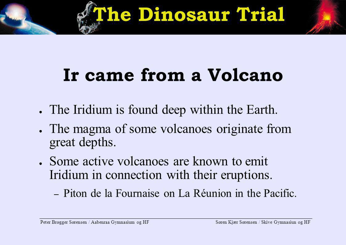 Ir came from a Volcano The Iridium is found deep within the Earth.