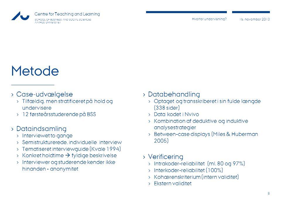 Metode Case-udvælgelse Dataindsamling Databehandling Verificering