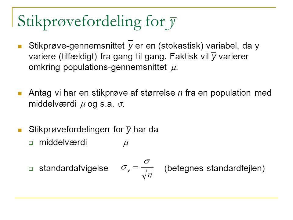 Stikprøvefordeling for y