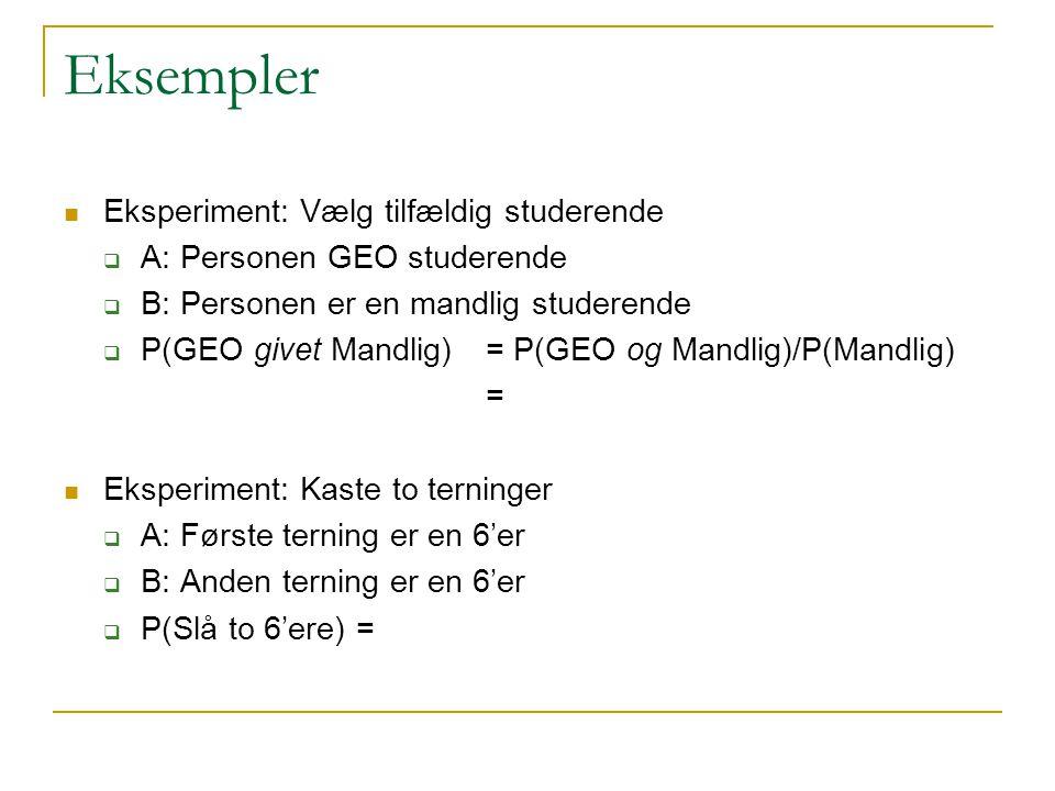 Eksempler Eksperiment: Vælg tilfældig studerende