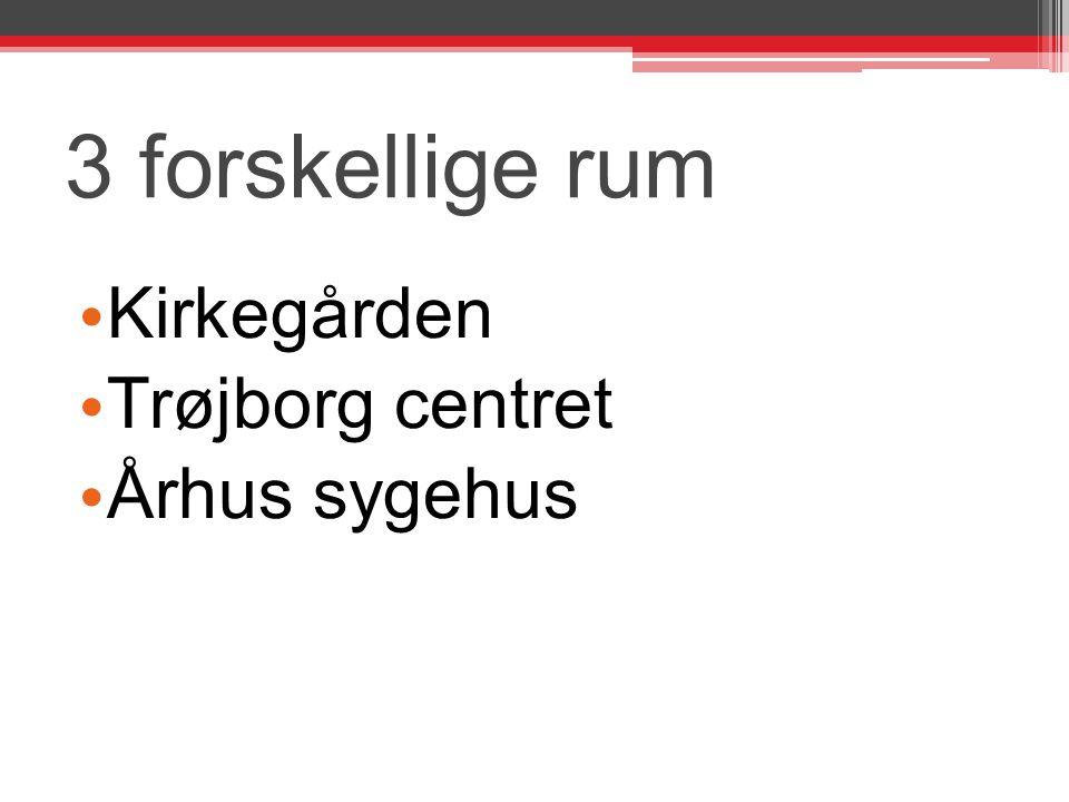 3 forskellige rum Kirkegården Trøjborg centret Århus sygehus