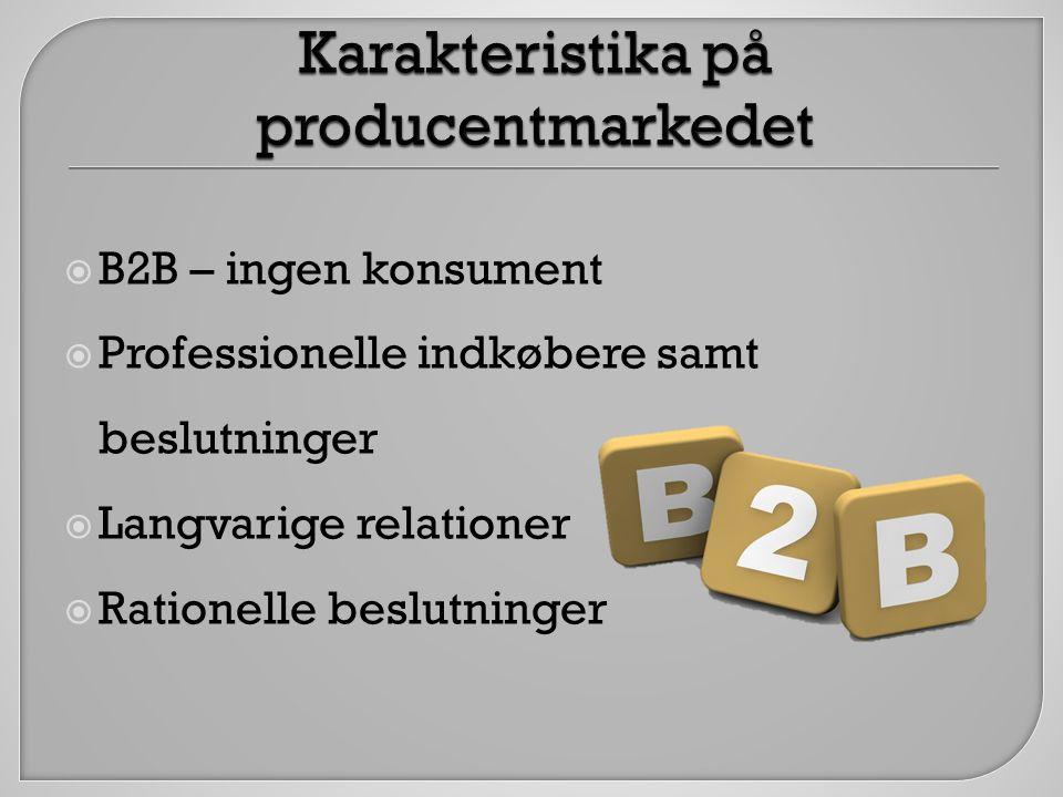 Karakteristika på producentmarkedet