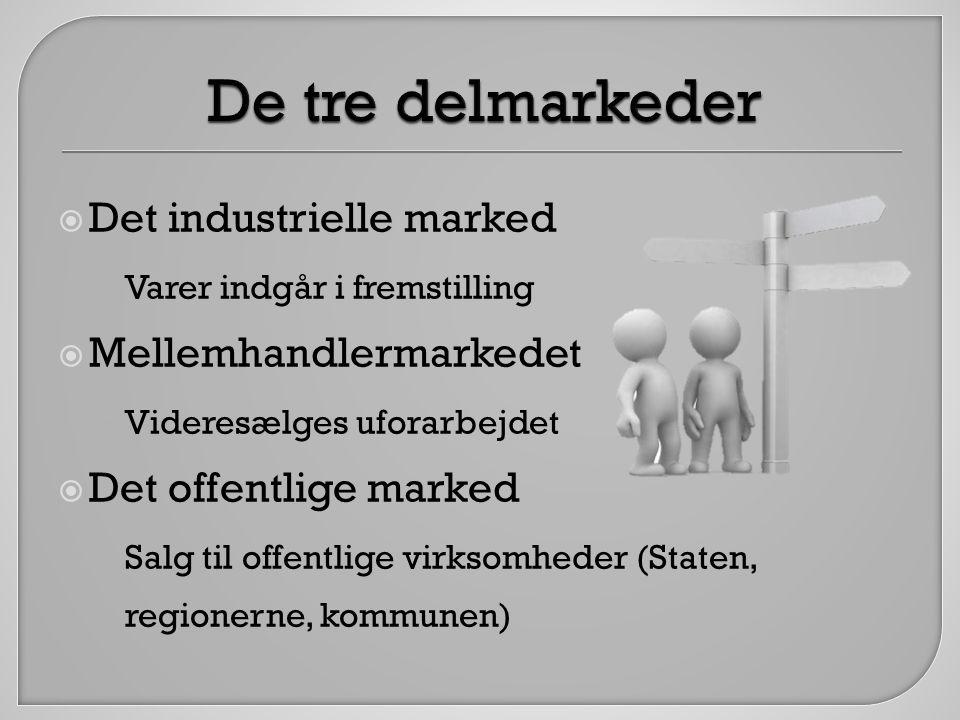 De tre delmarkeder Det industrielle marked Mellemhandlermarkedet