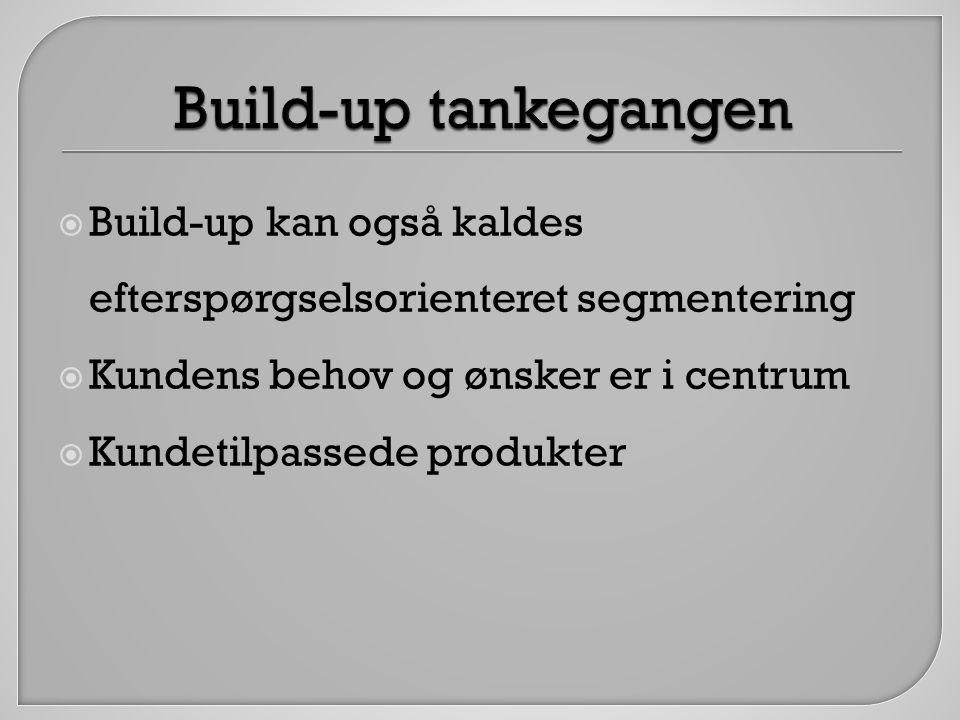 Build-up tankegangen Build-up kan også kaldes efterspørgselsorienteret segmentering. Kundens behov og ønsker er i centrum.