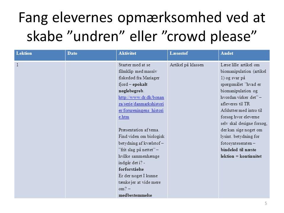 Fang elevernes opmærksomhed ved at skabe undren eller crowd please