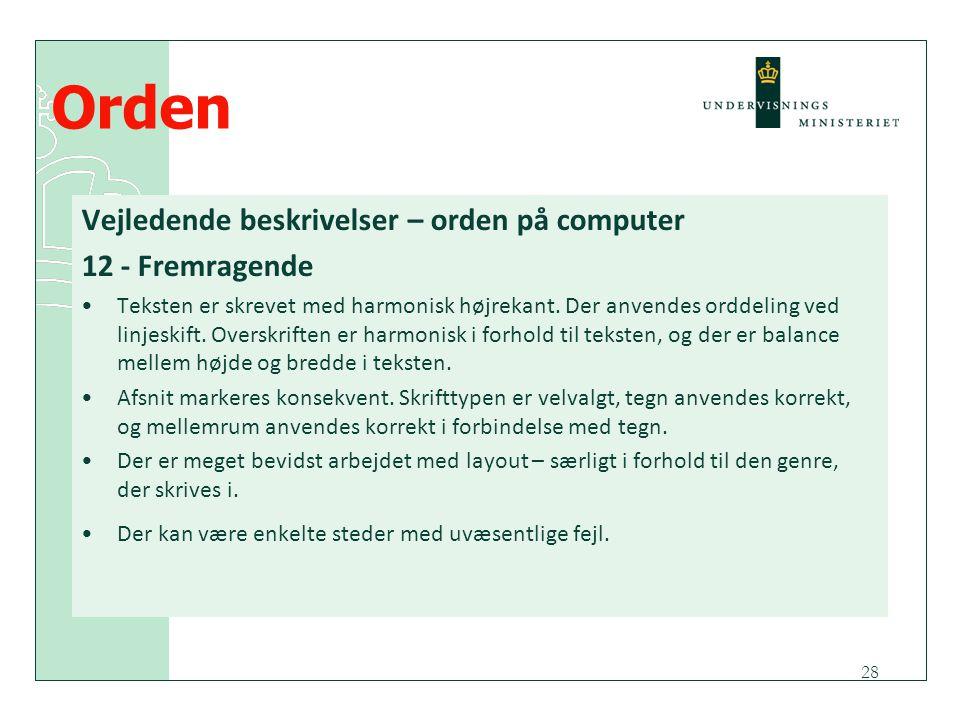 Orden Vejledende beskrivelser – orden på computer 12 - Fremragende