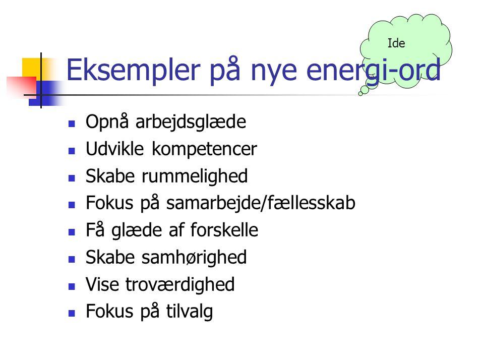 Eksempler på nye energi-ord