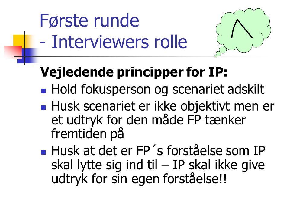Første runde - Interviewers rolle