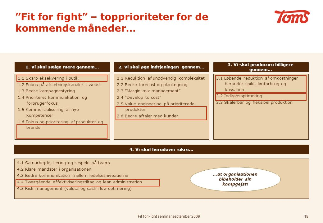Fit for fight – topprioriteter for de kommende måneder…