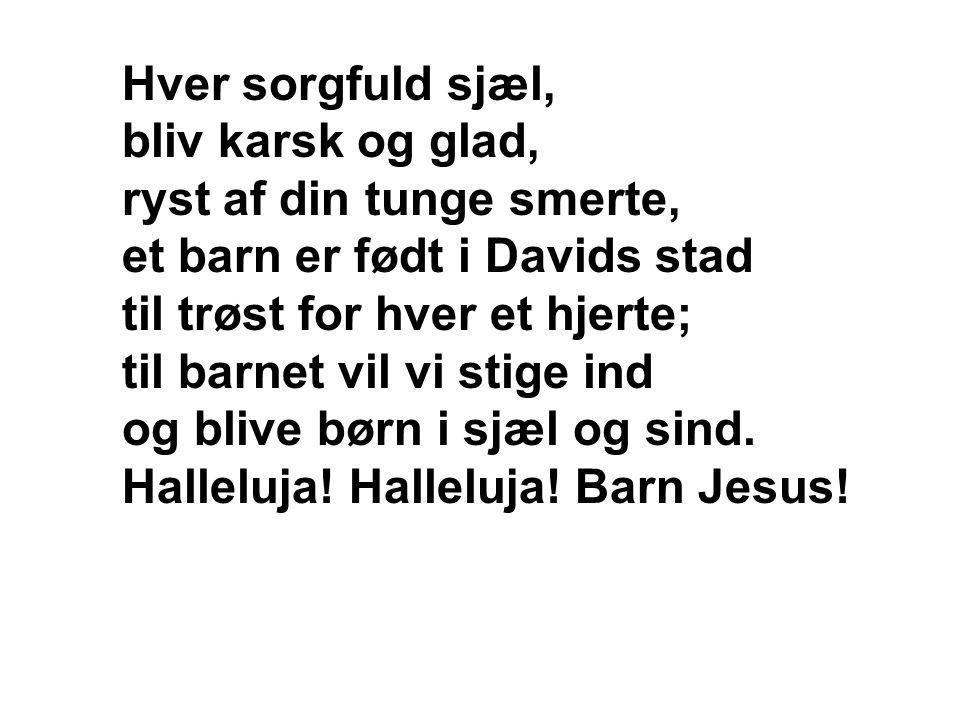 Hver sorgfuld sjæl, bliv karsk og glad, ryst af din tunge smerte, et barn er født i Davids stad til trøst for hver et hjerte; til barnet vil vi stige ind og blive børn i sjæl og sind.