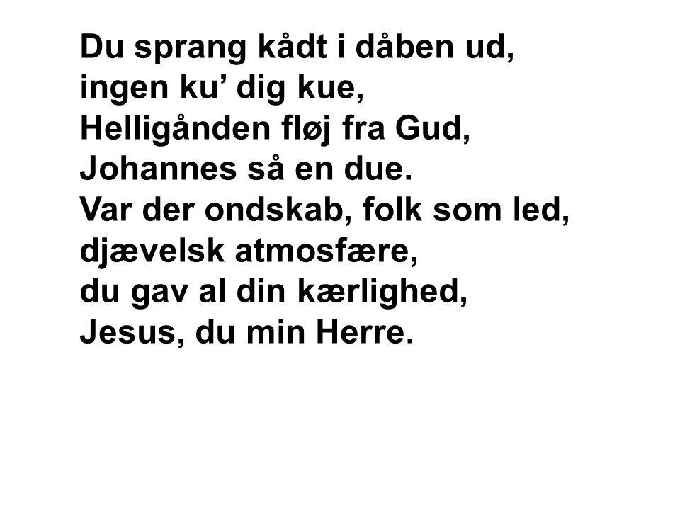 Du sprang kådt i dåben ud, ingen ku' dig kue, Helligånden fløj fra Gud, Johannes så en due.