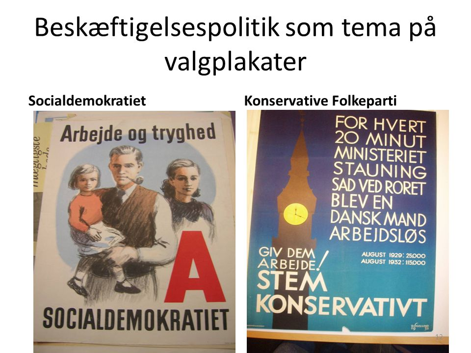 Beskæftigelsespolitik som tema på valgplakater