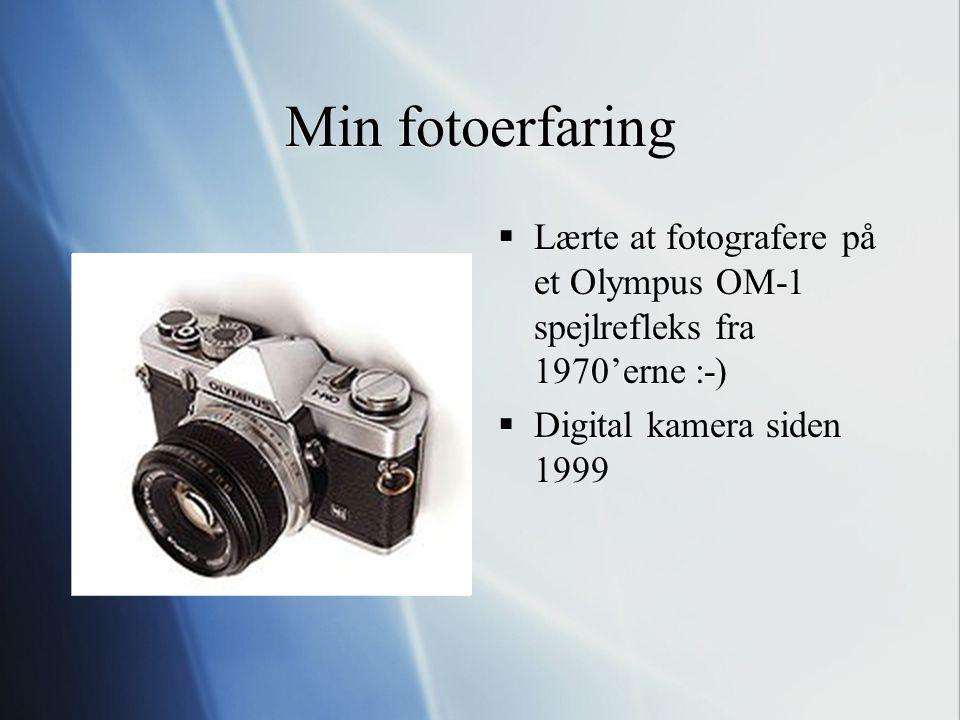 Min fotoerfaring Lærte at fotografere på et Olympus OM-1 spejlrefleks fra 1970'erne :-) Digital kamera siden 1999.