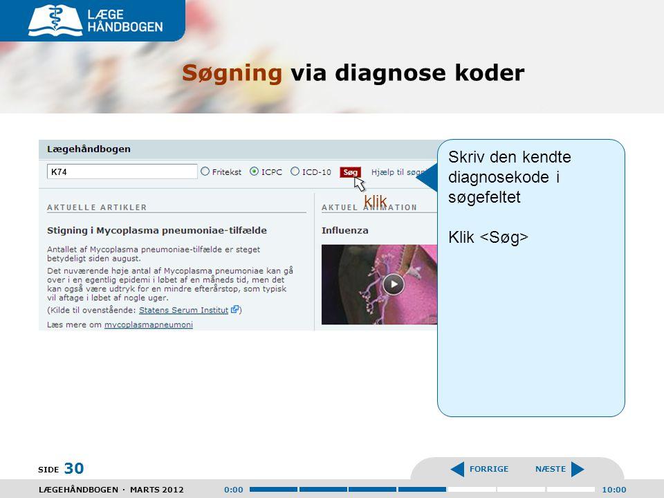Søgning via diagnose koder