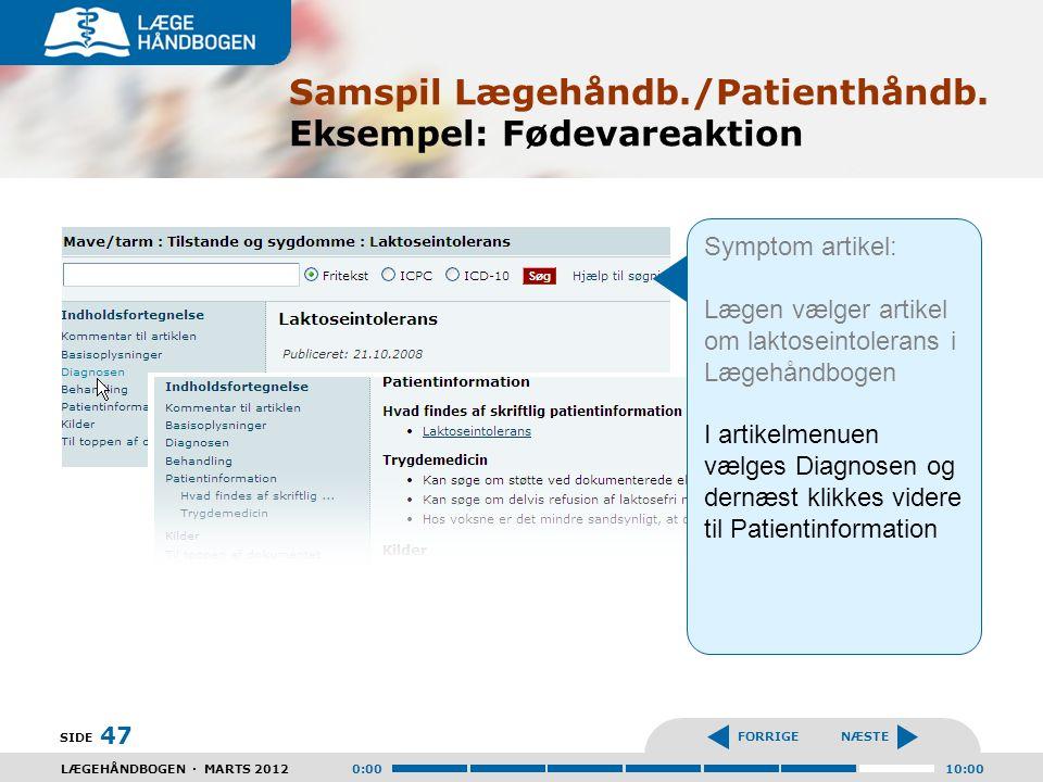 Samspil Lægehåndb./Patienthåndb. Eksempel: Fødevareaktion