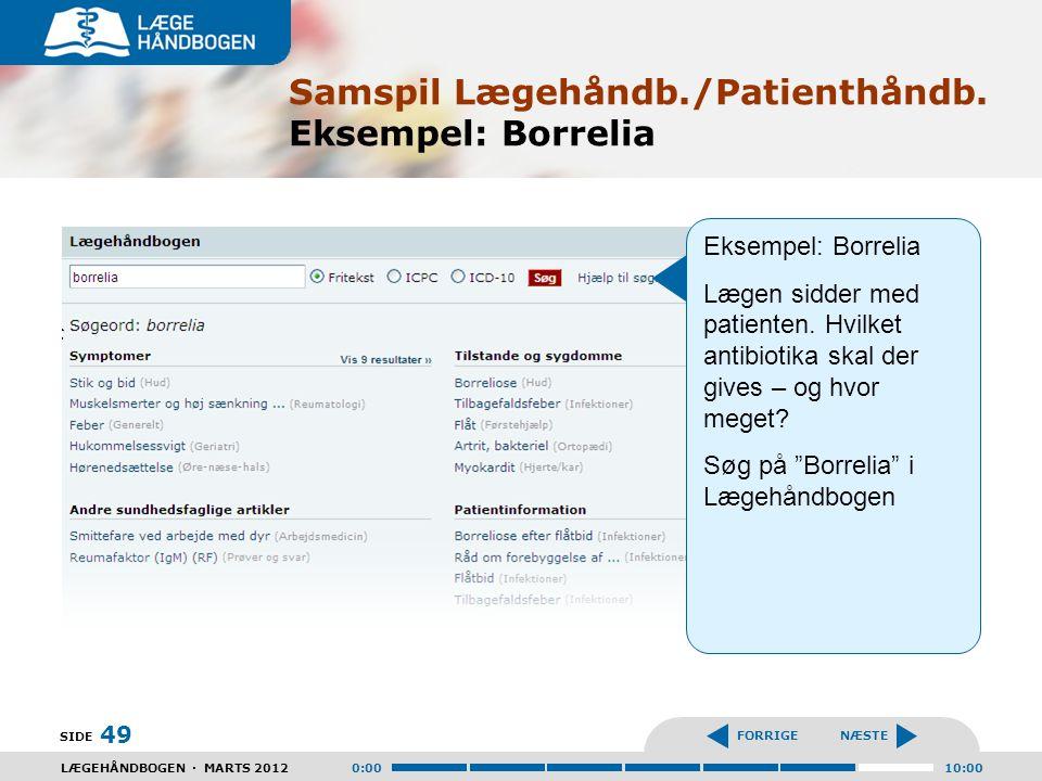 Samspil Lægehåndb./Patienthåndb. Eksempel: Borrelia