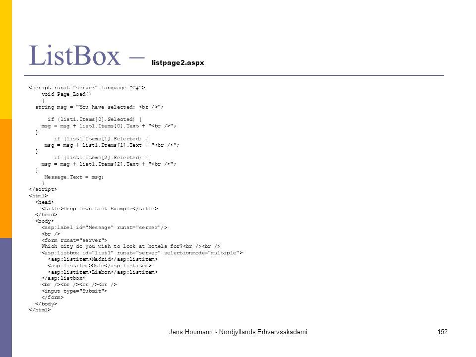 ListBox – listpage2.aspx