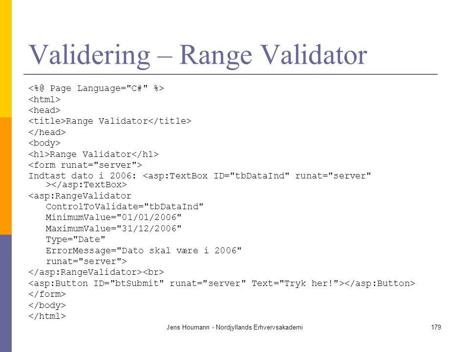 Validering – Range Validator