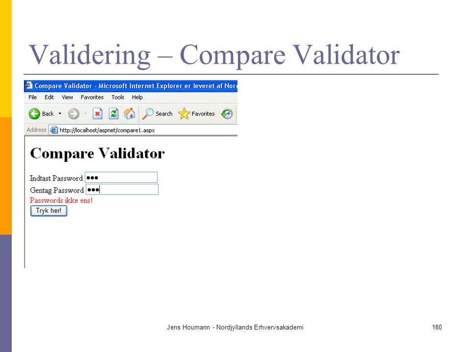 Validering – Compare Validator