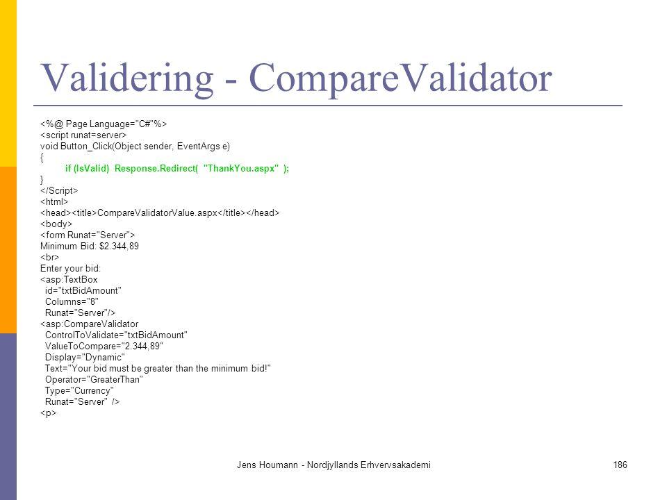 Validering - CompareValidator