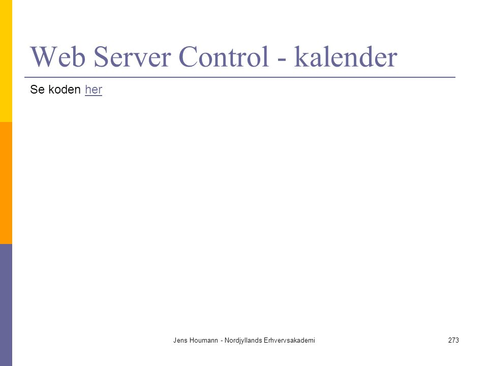 Web Server Control - kalender