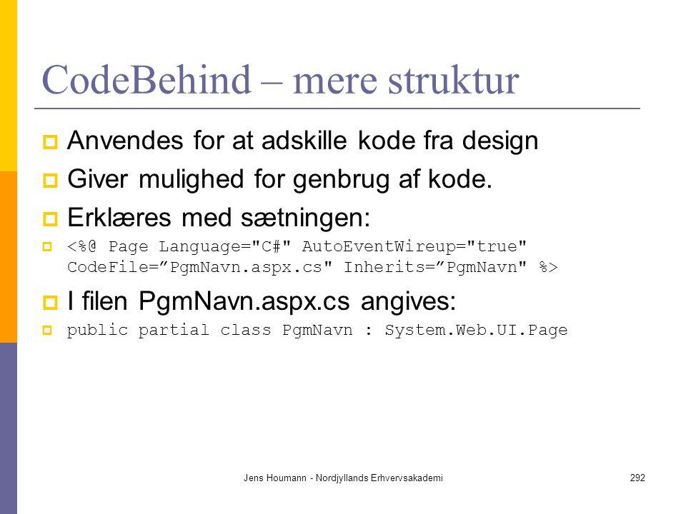 CodeBehind – mere struktur
