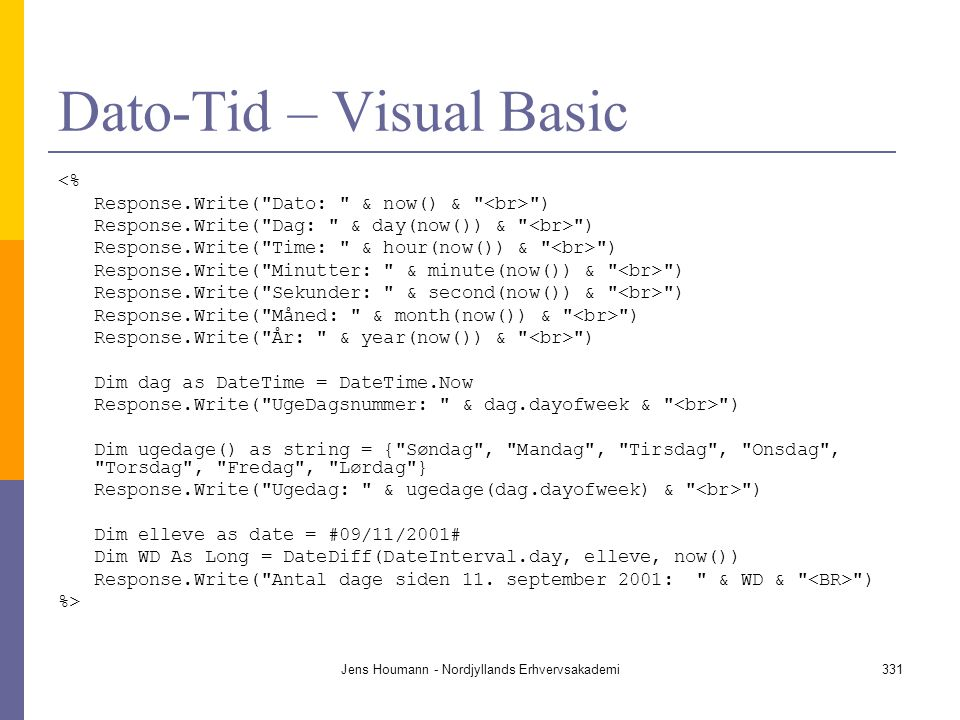 Dato-Tid – Visual Basic