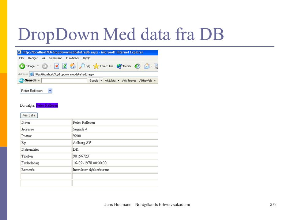 DropDown Med data fra DB