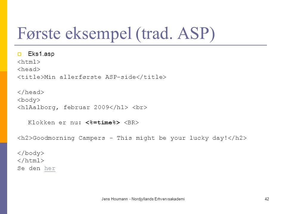 Første eksempel (trad. ASP)