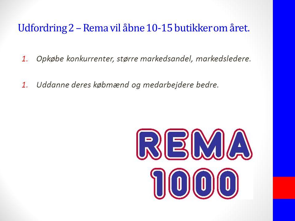 Udfordring 2 – Rema vil åbne 10-15 butikker om året.