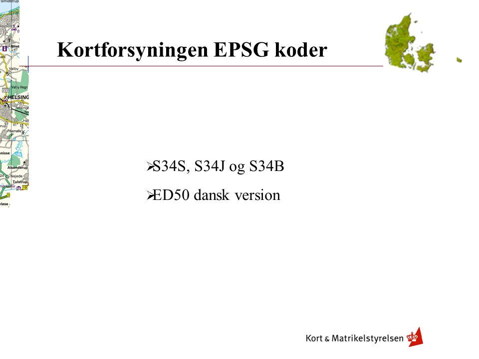 Kortforsyningen EPSG koder
