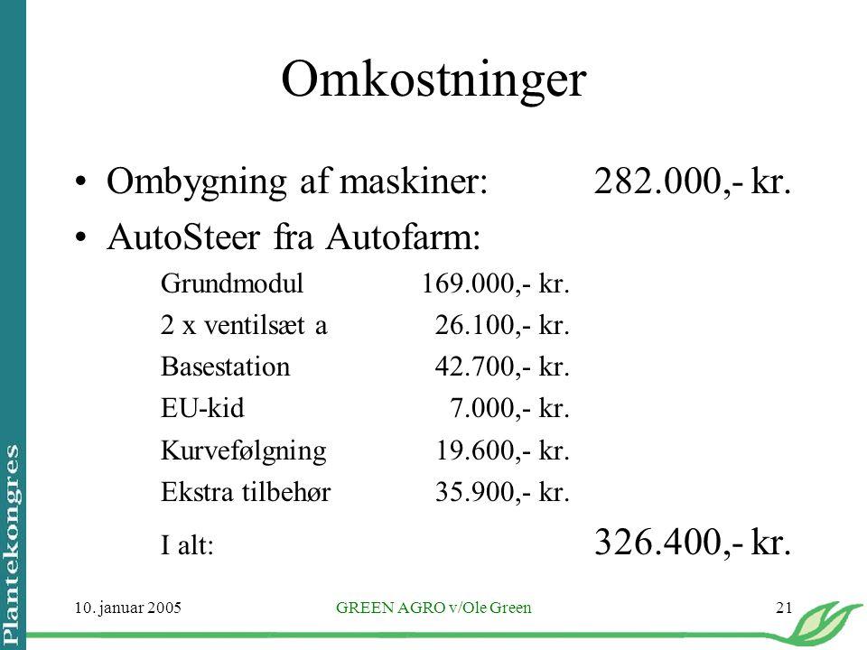 Omkostninger Ombygning af maskiner: 282.000,- kr.