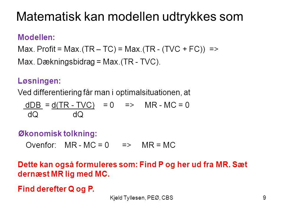 Matematisk kan modellen udtrykkes som