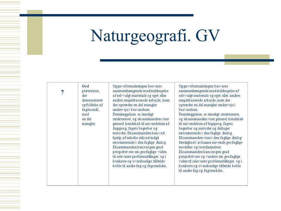 Naturgeografi. GV 7 God præstation, der