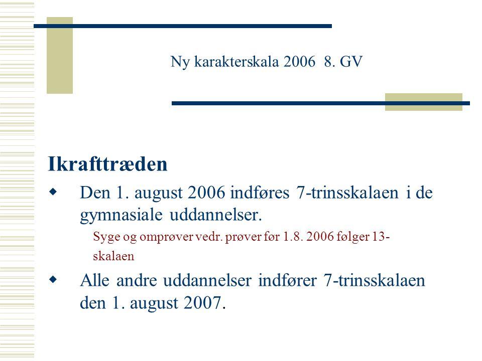 Ny karakterskala 2006 8. GV Ikrafttræden. Den 1. august 2006 indføres 7-trinsskalaen i de gymnasiale uddannelser.