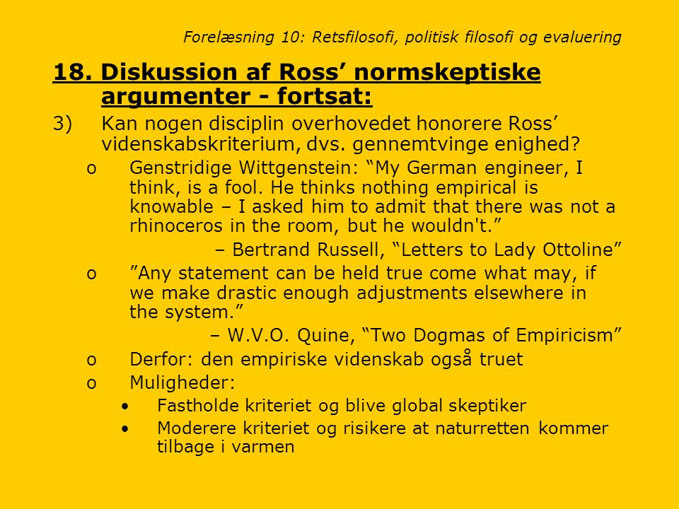 Forelæsning 10: Retsfilosofi, politisk filosofi og evaluering