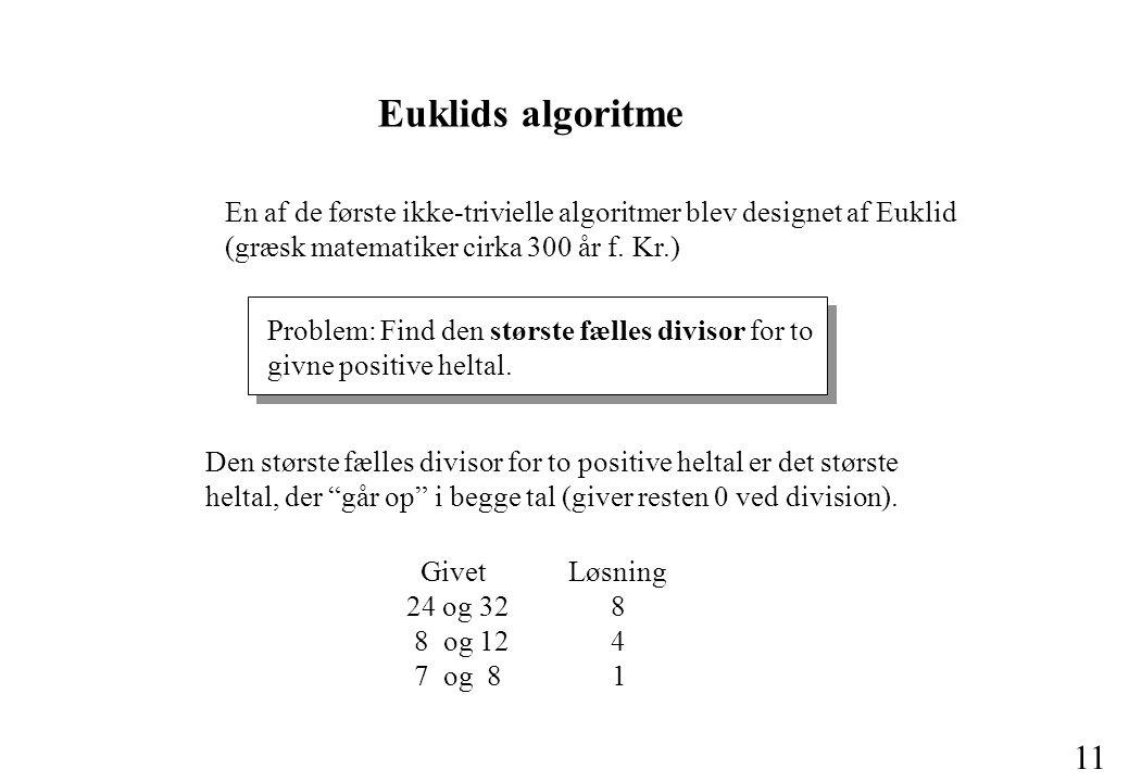 Euklids algoritme En af de første ikke-trivielle algoritmer blev designet af Euklid (græsk matematiker cirka 300 år f. Kr.)
