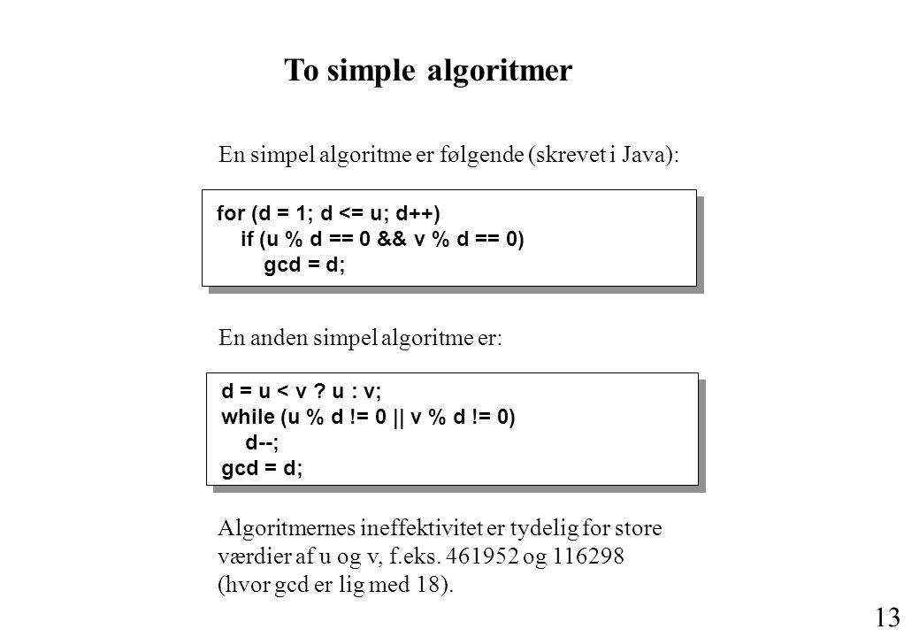 To simple algoritmer En simpel algoritme er følgende (skrevet i Java):
