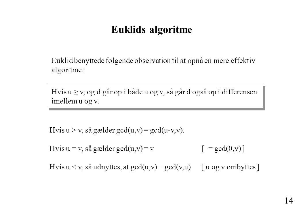 Euklids algoritme Euklid benyttede følgende observation til at opnå en mere effektiv algoritme: