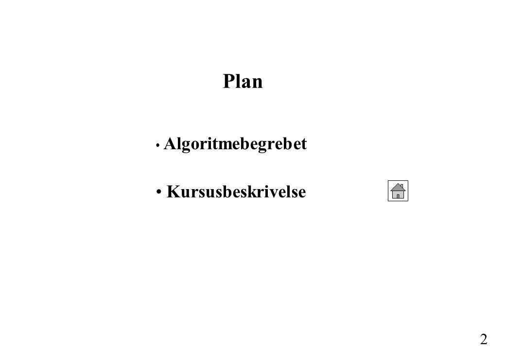 Plan Algoritmebegrebet Kursusbeskrivelse