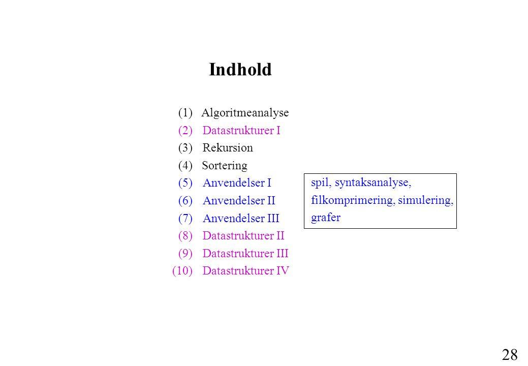Indhold (1) Algoritmeanalyse (2) Datastrukturer I (3) Rekursion