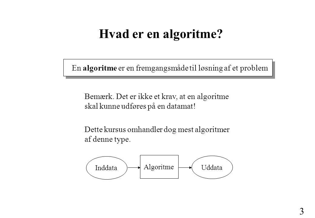 Hvad er en algoritme En algoritme er en fremgangsmåde til løsning af et problem.