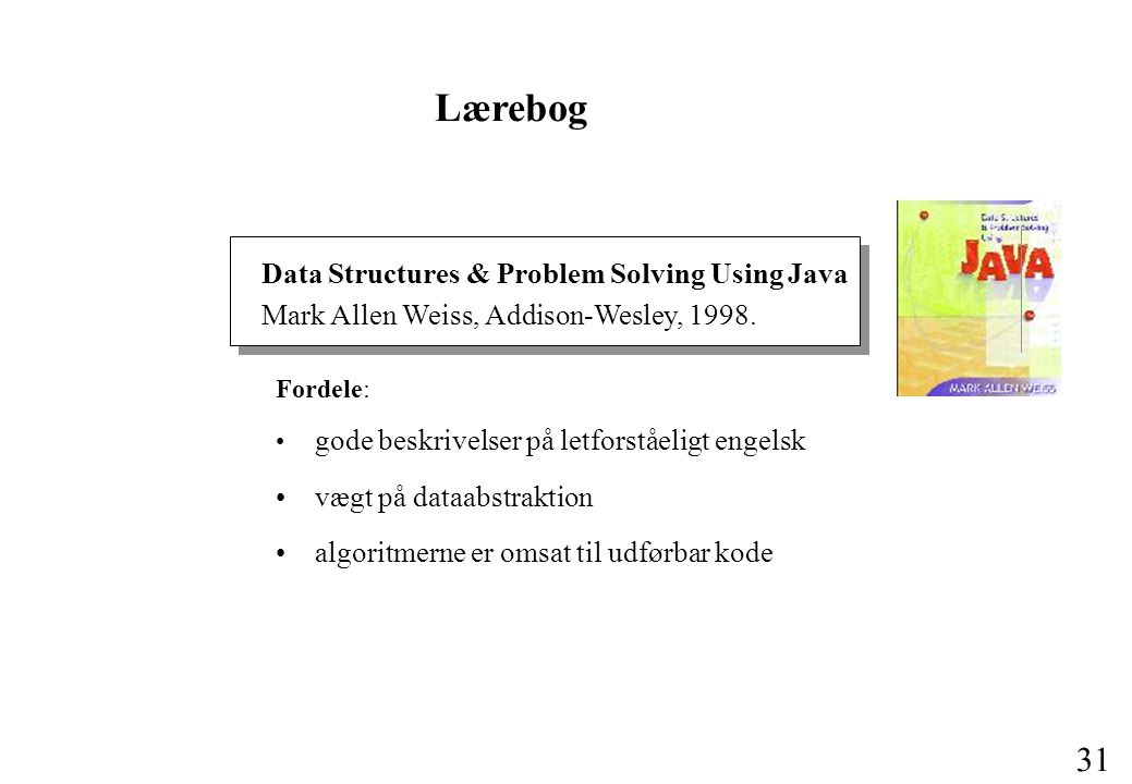 Lærebog Data Structures & Problem Solving Using Java