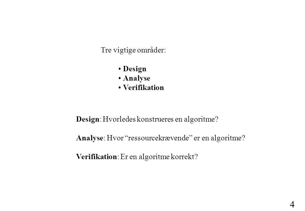 Tre vigtige områder: • Design • Analyse • Verifikation. Design: Hvorledes konstrueres en algoritme