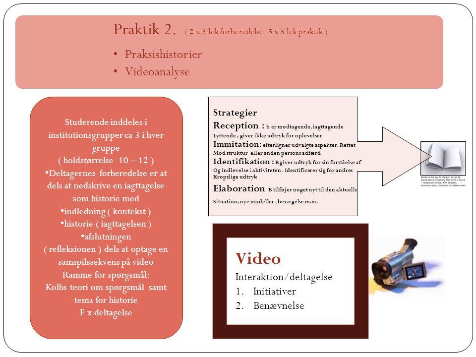 Video Praktik 2. ( 2 x 3 lek forberedelse 5 x 3 lek praktik )