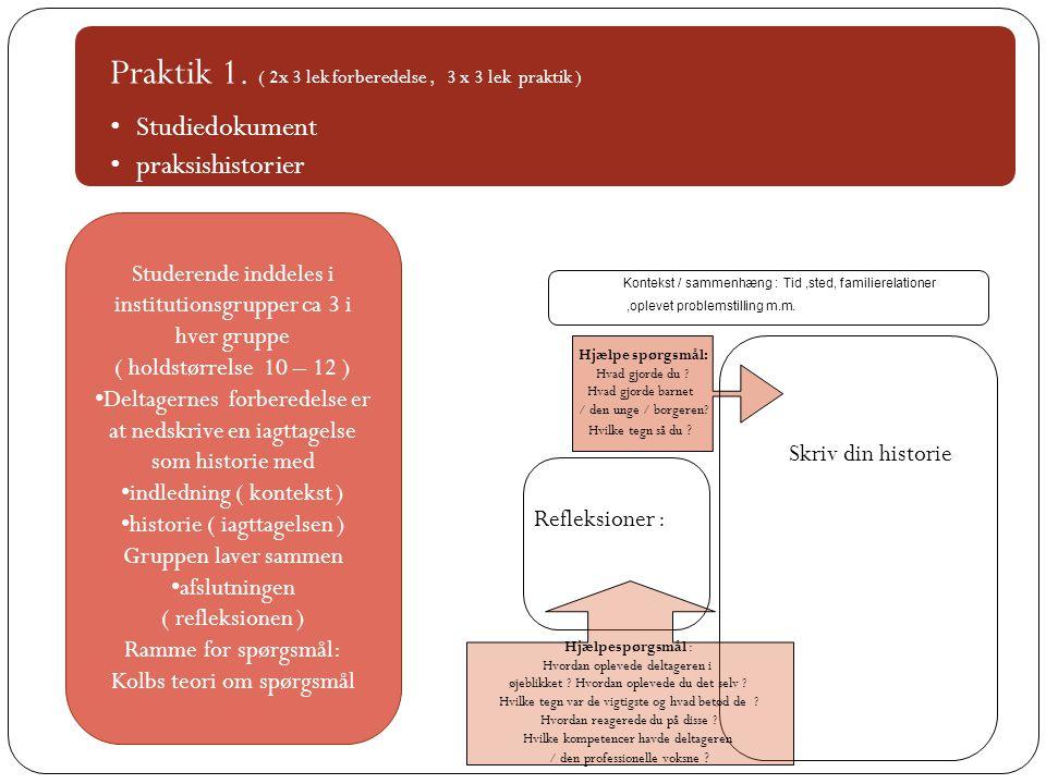 Praktik 1. ( 2x 3 lek forberedelse , 3 x 3 lek praktik )