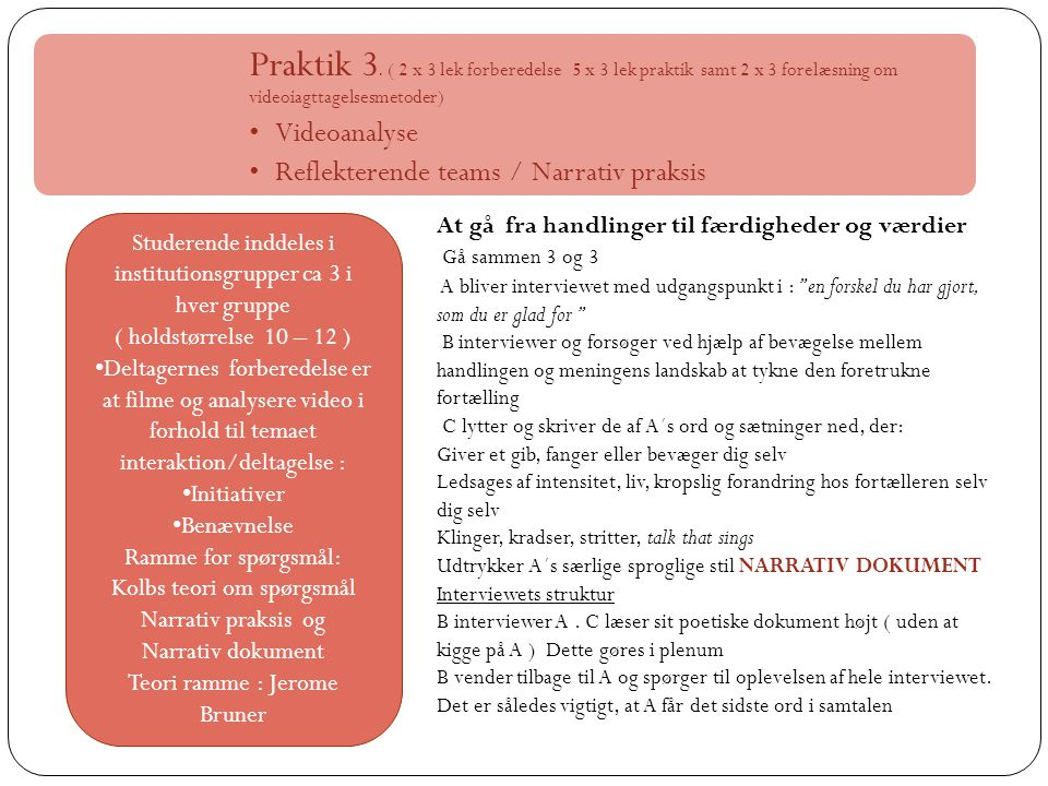 Praktik 3. ( 2 x 3 lek forberedelse 5 x 3 lek praktik samt 2 x 3 forelæsning om videoiagttagelsesmetoder)