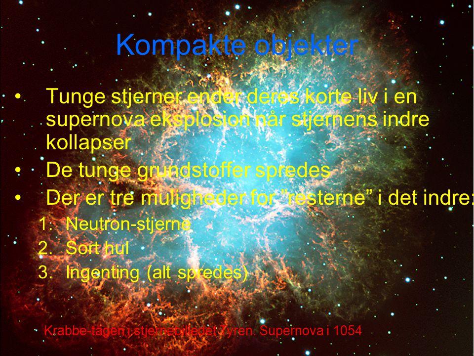 Kompakte objekter Tunge stjerner ender deres korte liv i en supernova eksplosion når stjernens indre kollapser.